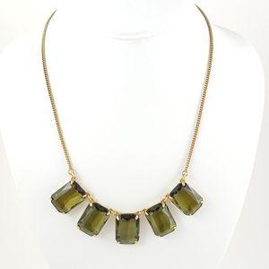 J. Crew Necklace Large Green Emerald Cut Stones
